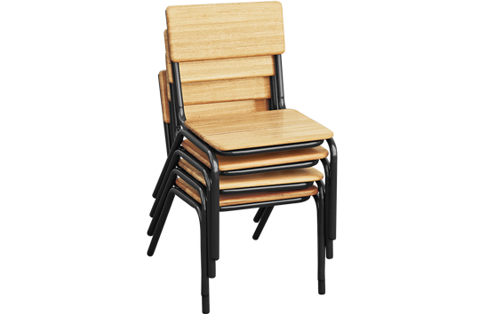 Hardwood Stackable Chair: Charcoal