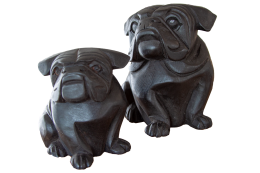 Wooden Bulldog Black Decor