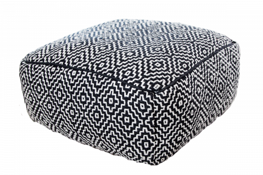 Cotton Ottoman Black and white
