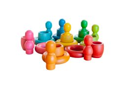 rainbow people cups and rings