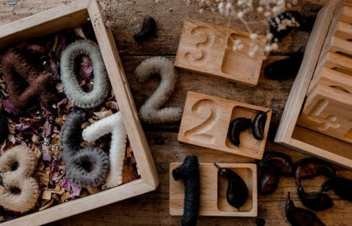 wooden counting tray