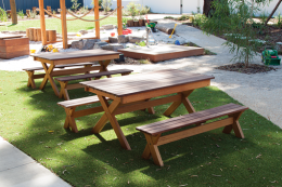 outdoor x frame bench in situation