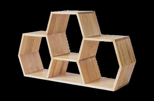 low honeycomb bookshelf