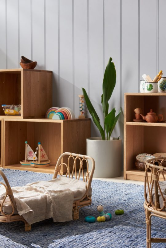 rattan doll's bed