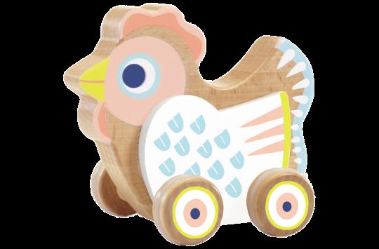 Hen On Wheels Wooden Toy