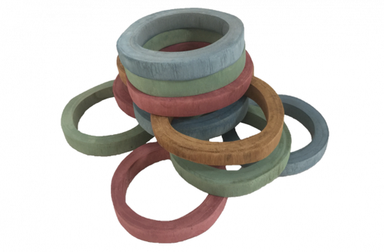 Earth Wooden Rings 7pc